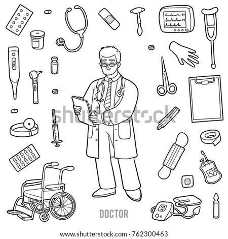 Vector Set Doctor Medical Objects Cartoon Stock Vector