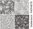 vector set with monochrome seamless  patterns - stock vector