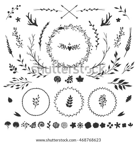 vector set with rustic floral elements isolated on white flowers leaves berries
