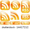 Vector Shiny Glossy 9 RSS Icons & Buttons Set - stock vector