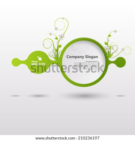 Vector shiny speech bubble with green elements