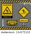 vector sign caution slippery ice warning collection - stock