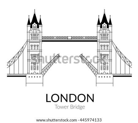 Vector Illustration Tower Bridge Outline Design Stock
