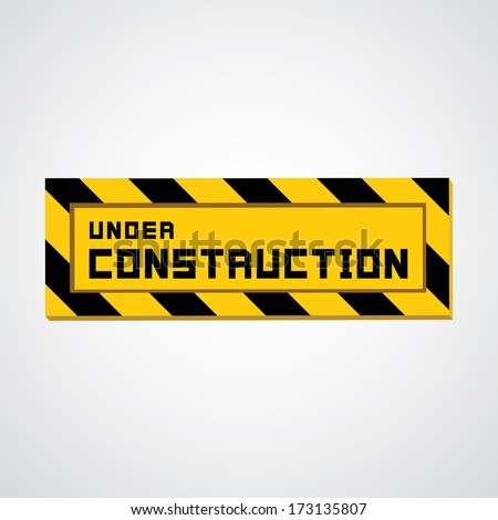 Vector sign under construction on gray background