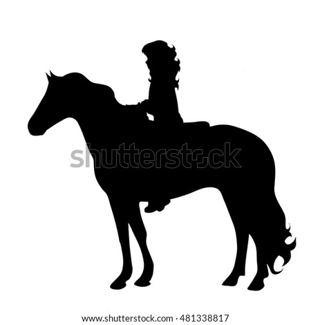 vector silhouette of a child on horseback on white background.