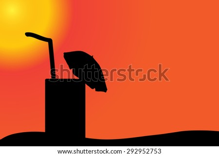 Vector silhouette of a drink on the beach at sunset.