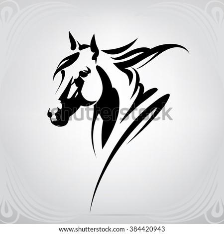 Vector Silhouette Horses Head Stock Vector 384420943 ...
