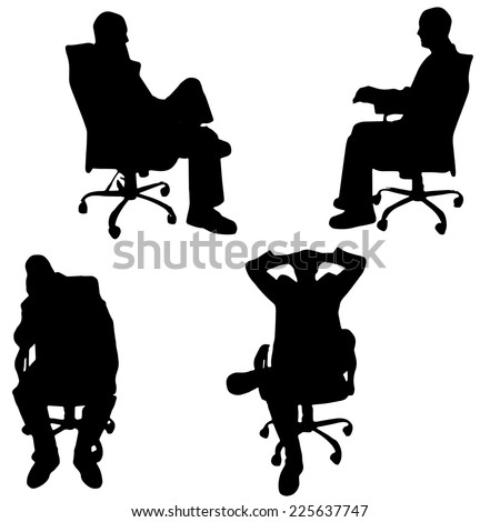 Vector silhouette of a man sitting in the office.