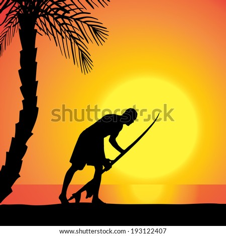 Vector silhouette of a man with a surfboard at sunset.
