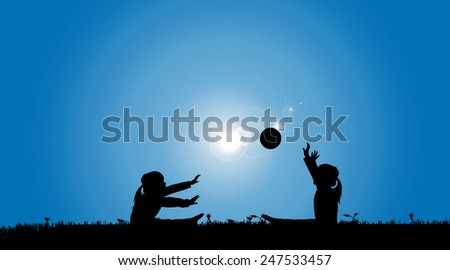Vector silhouette of a siblings who play on the meadow.