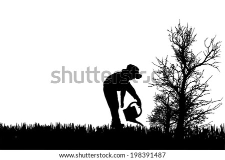 Vector silhouette of child in nature on white badckground.