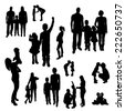 Vector silhouette of family on white background. - stock photo