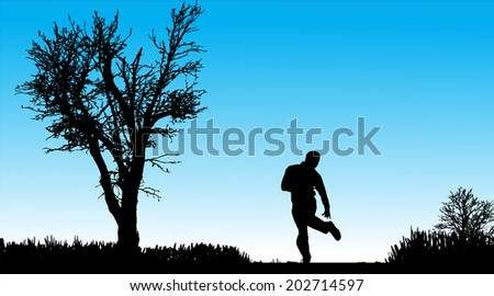 Vector silhouette of man in nature along the beautiful days.