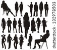 Vector silhouettes of business lady - stock photo