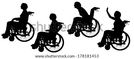 Vector silhouettes of people in a wheelchair on a white background