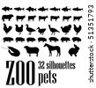 vector silhouettes 32 pets - stock vector