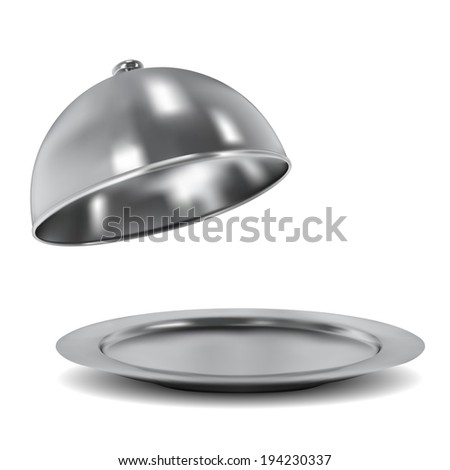 Vector silver opened cloche on white background