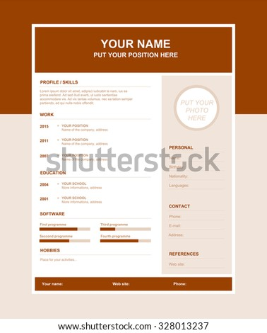 Cv Design Education Skills Awards Symbols Stock Vector #0: stock vector vector simple resume template