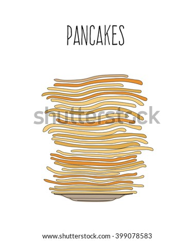 Vector sketch  illustration of pancakes in a dish on white background
