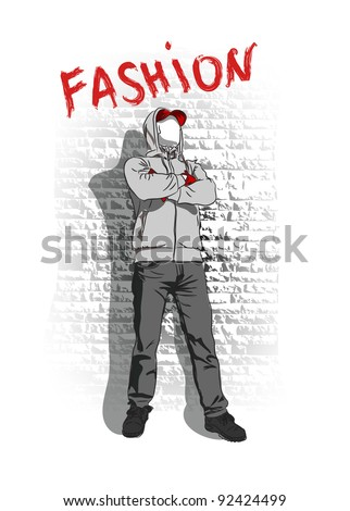 Vector sketch of fashionable man, the background