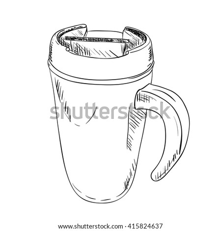 vector sketch of thermo cup with handle. Hand draw illustration.