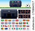 Vector Soccer Kit 2014. Stadium Scoreboard, National Team Flags, Banner Template and Set of Led Numbers - stock photo