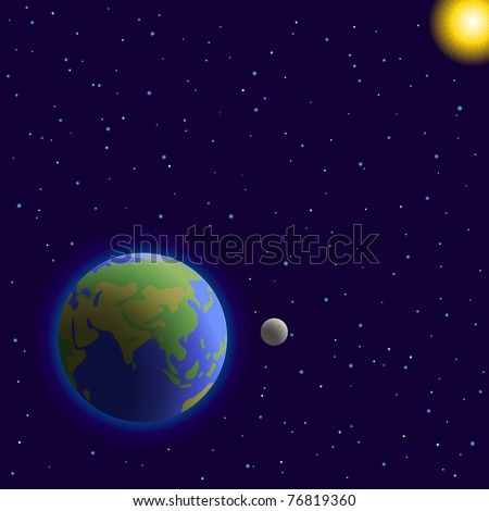 Vector, space:  planets mother Earth, moon, sun and stars