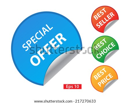 Vector: special offer, best price, best choice, best seller colorful stickers set