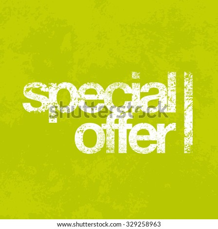 Vector Special Offer sign over green grungy background