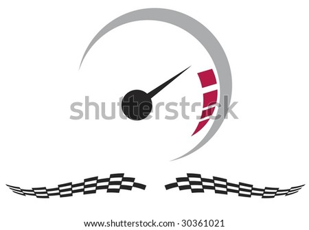 Vector speedometer and checkered racing flags