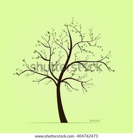 Vector spring illustration with green leaves on tree on light background