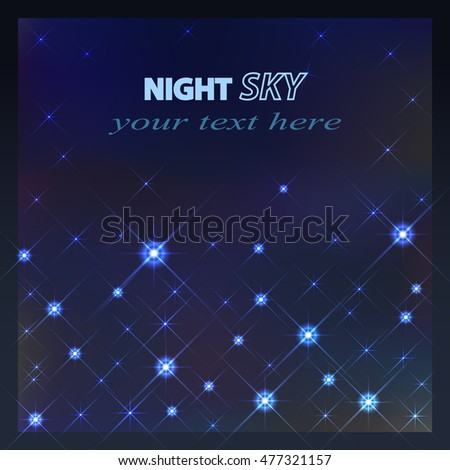 Vector Stars and galaxy space sky night with stars background.  Colorful space nebula