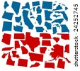 vector states of america in voter colors - stock