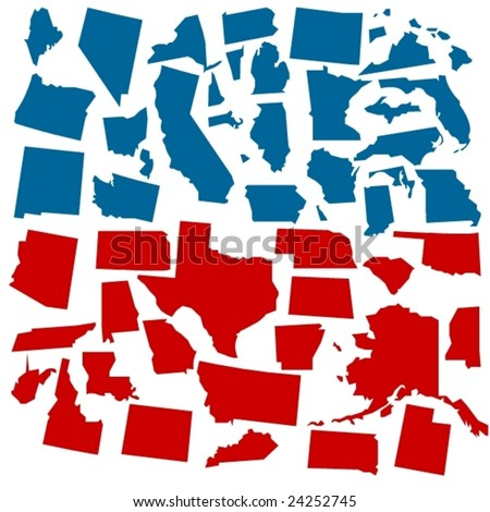 vector states of america in voter colors