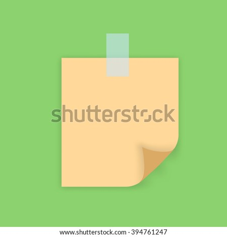 Vector sticker. Sheet isolated with sellotape. Sheet with bent corner.
