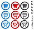 Vector sticker, shopping cart, trolley, item, button - stock photo