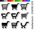 Vector stickers of shopping cart, trolley, item, button - stock vector