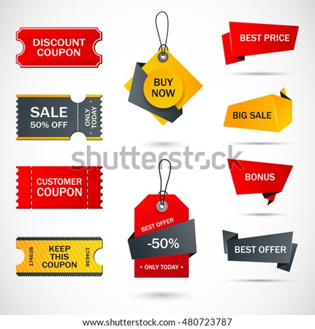 Coupon Sale Offers Promotions Vector Template Stock Vector