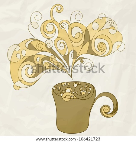 vector stylized cup of coffee with bubbles and steam on crumpled paper texture, eps 10, mesh
