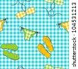 Vector  summer background, seamless pattern - stock vector