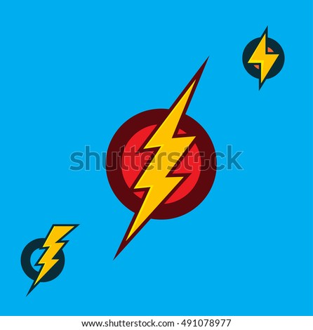 Vector Superhero Sign. Flash Icon. Color Flat Vector Icon of Power