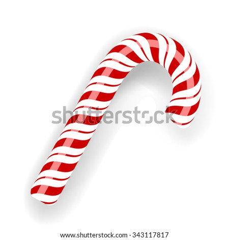 Vector Sweet Candy Cane Isolated on White Background. Symbol of New Year