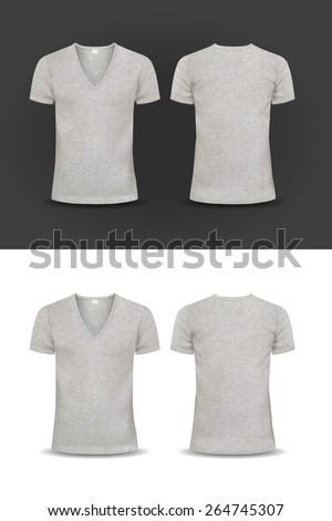 Vector T-shirt, Design template, women and men, u-neck shirt, v-neck shirt, short sleeved, back and front views, raglan sleeve