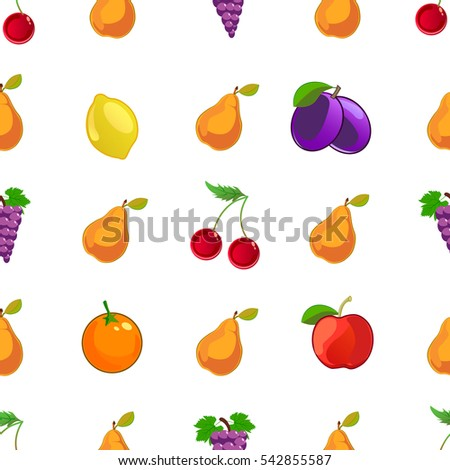Vector tasty fruits seamless pattern. isolated on white background.