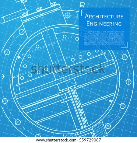 Vector technical blueprint of mechanism. Engineer illustration