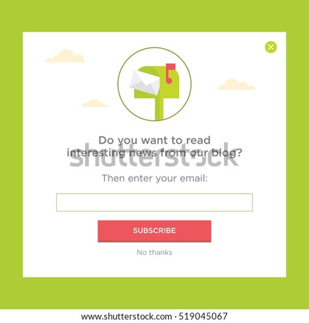 Vector template for email subscribe. With mailbox.