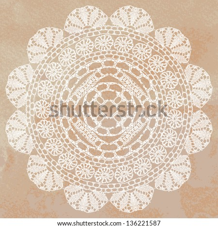 Crochet Stitches Vector : Vector template. Invitation card. - stock vector