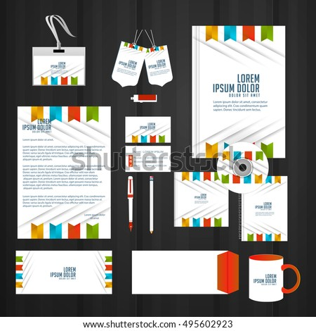 vector templates for office stationery with creative design illustration.