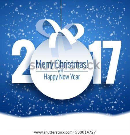 Vector text Design 2017. Happy new year template greeting card.