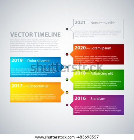 Vector Timeline Template Colorful Tabs Stock Vector 489224236